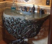 Stone Sink With Forged Iron Stand