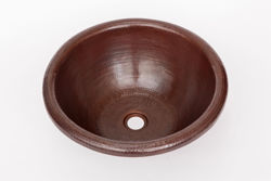"""Picture of 17"""" Rimmed Round Copper Bathroom Sink by SoLuna"""
