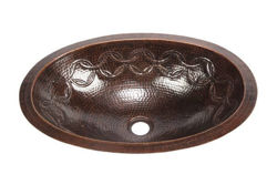 "Picture of 19"" Oval Copper Bathroom Sink - Joining Rings by SoLuna"