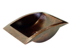 "Picture of 20.5"" Curved Trough Copper Bathroom Sink by SoLuna"
