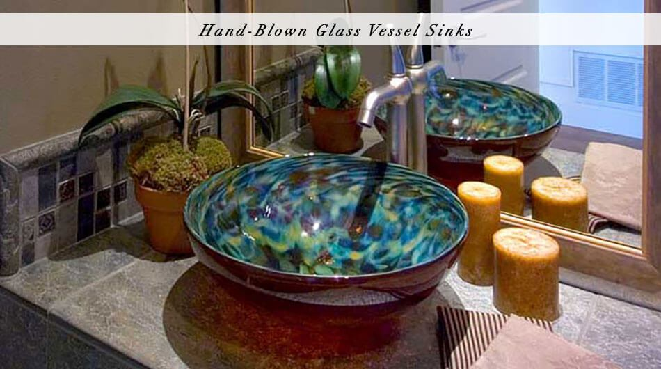 hand blown glass vessel sink