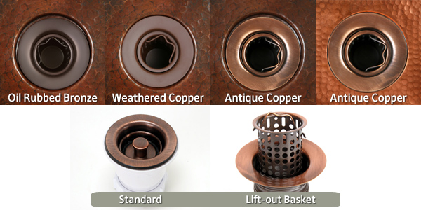 Copper Bar Sink Drain Options