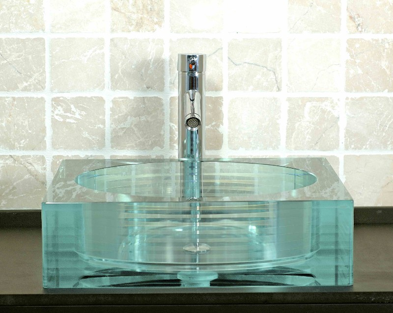 Picture of Square Glass Vessel Bath Sink