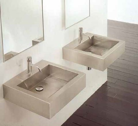Square Stainless Wall-Mount or Vessel Bath Sink