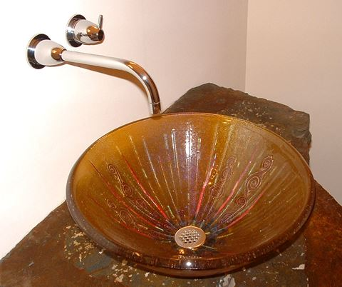 Amber Glass Vessel Sink With Copper Swirls