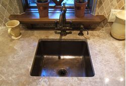 "Picture of 15"" Square Bronze Bar Sink"