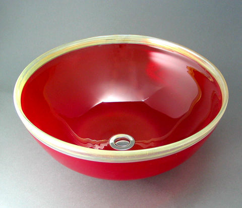 Blown Glass Sink - Cherry Gold