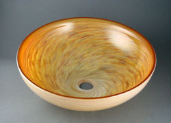 Picture of Blown Glass Sink - Alabaster Swirl