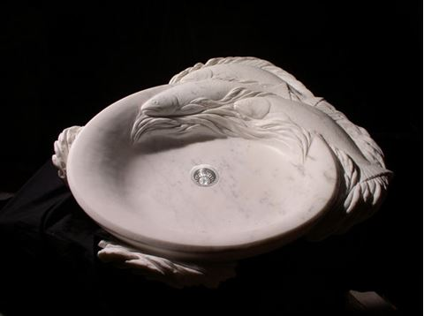 Trident Carved Marble Sink