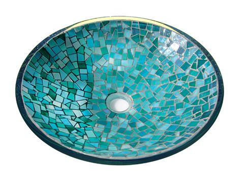 Indigo Crystals Glass Mosaic Sink