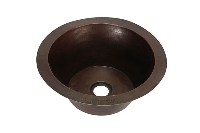 """Picture of 19"""" Flat Bottom Round Copper Bar Sink by SoLuna"""