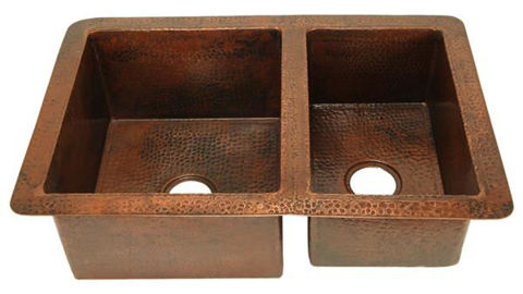 "33"" Double Well Copper Kitchen Sink - 60/40 by SoLuna"