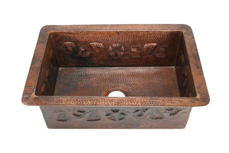 "Picture of 30"" Copper Kitchen Sink - Floral Vine by SoLuna"