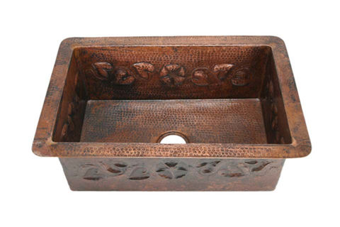 "30"" Copper Kitchen Sink - Floral Vine by SoLuna"
