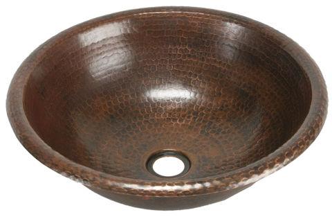 "15"" Round Copper Bathroom Sink by SoLuna"