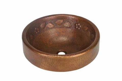 """17"""" Prescenio Copper Vessel Sink - Floral by SoLuna"""