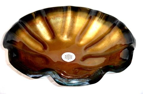 Laventino Bronze Wavy Edge Glass Vessel Sink