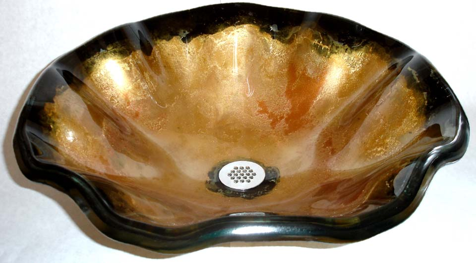 Picture of Laventino Dell'Oro Wavy Edge Glass Vessel Sink