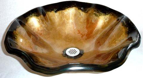 Laventino Dell'Oro Wavy Edge Glass Vessel Sink