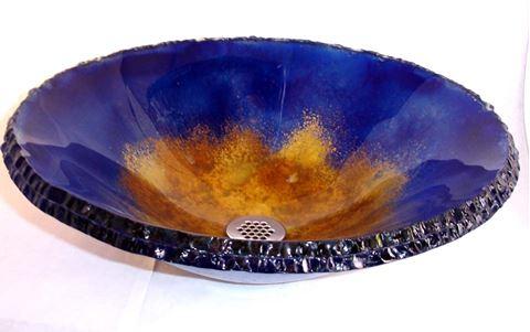 Oceanus III Round Chiseled Edge Glass Vessel Sink