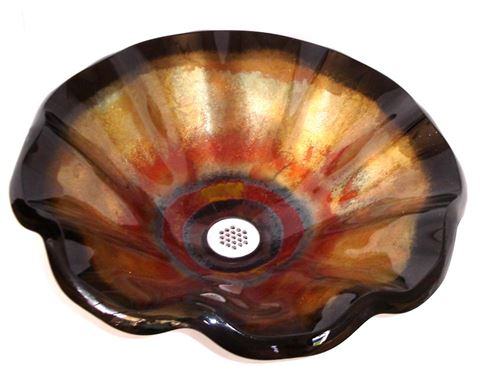 Tuscan Fire II Wavy Edge Glass Vessel Sink