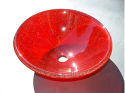 Transparent Cherry Red Glass Vessel Sink