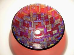 Dichroic Vessel Sink on Cranberry Glass