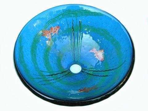 Goldfish Grey-Blue Glass Vessel Sink
