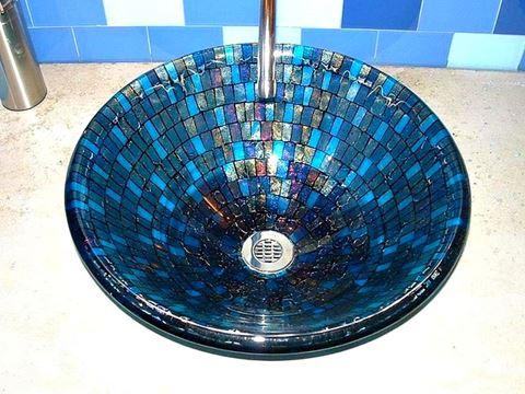 Grey Blue Mosaic Vessel Sink