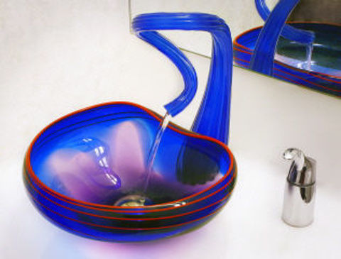 Blown Glass Sink | Cobalt with Red Lip