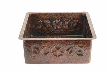 Picture of Large Floral Vine Design Copper Kitchen Prep Sink