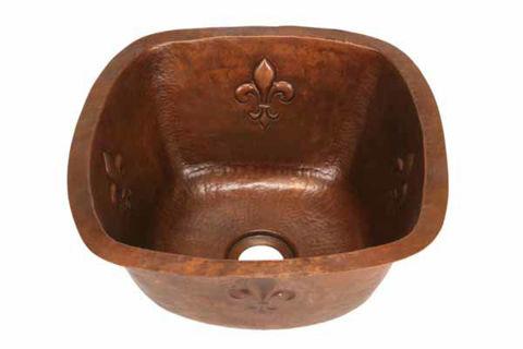 """15"""" Copper Bar Sink w/Rounded Edge - Fleur de Lis by SoLuna"""