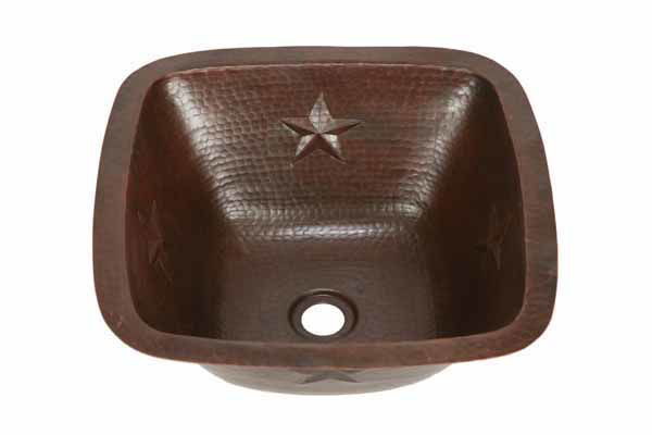 "Picture of 15"" Copper Bar Sink w/Rounded Edge - Stars by SoLuna"
