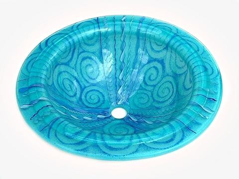 Light Aqua Venetian Glass Sink with Blue Canes