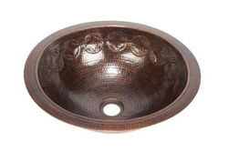 """Picture of 15"""" Round Copper Bathroom Sink - Joining Rings by SoLuna"""