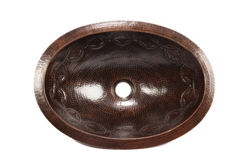 "17"" Oval Copper Bathroom Sink - Joining Rings by SoLuna"