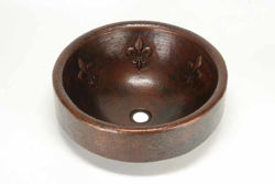 "17"" Prescenio Copper Vessel Sink - Fleur de Lis by SoLuna"
