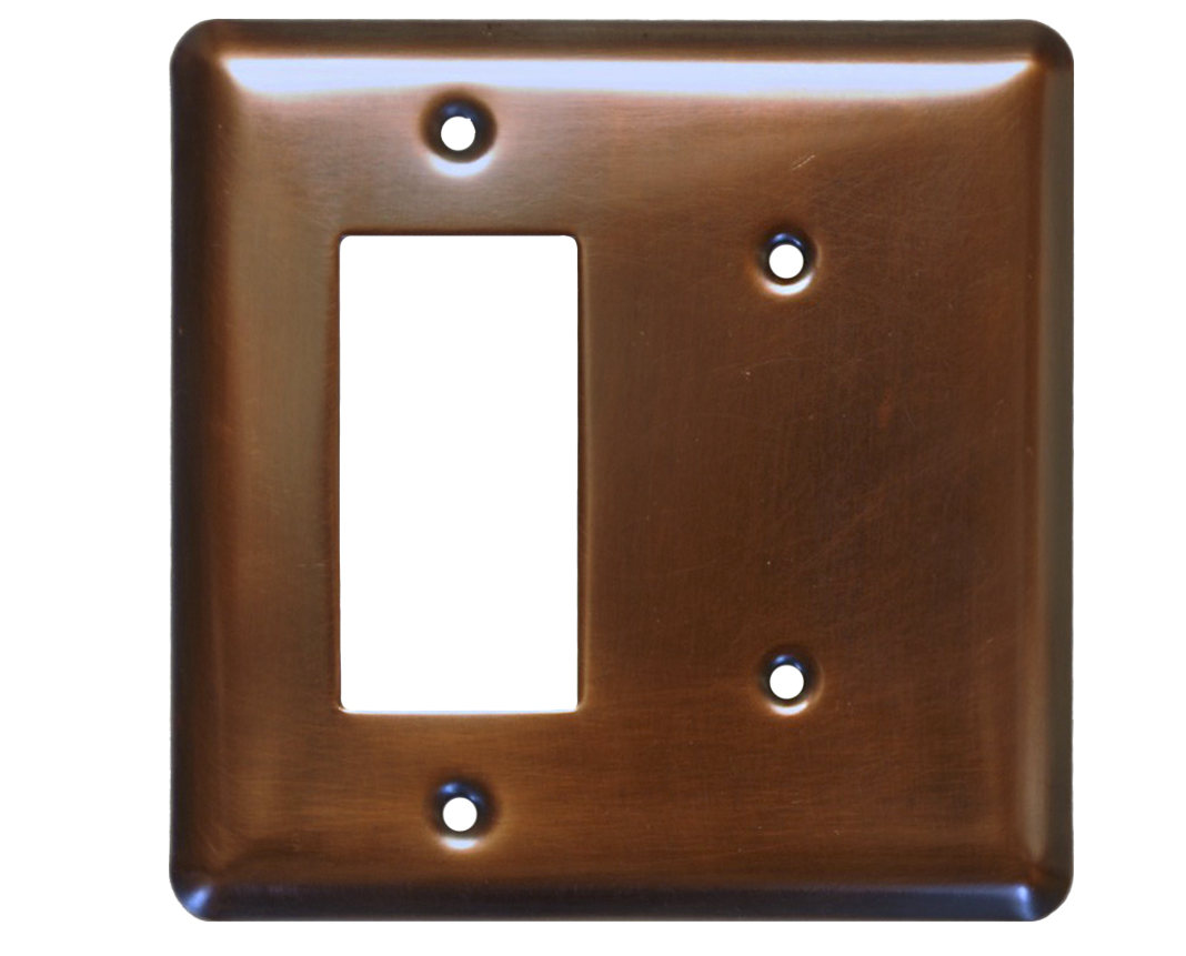 Picture of 2 Gang Deco Blank Combo Copper Switch Plate Cover