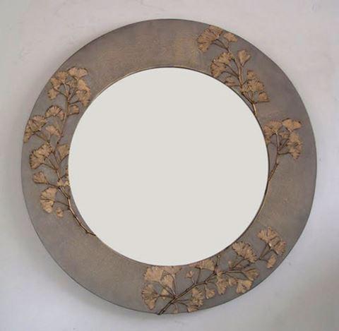 Ginkgo Branch Round Mirror