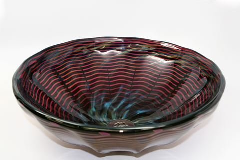 Blown Glass Sink - Burgundy Waves
