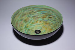 Blown Glass Sink - Aqua Green Vortex
