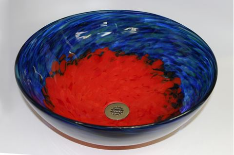 Blue Caliente Hand-blown Glass Vessel Sink