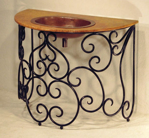 Hierro Remolino Marble and Copper Vanity