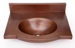 "Picture of 24"" Wall-Mount Oval Copper Bathroom Sink by SoLuna"