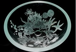 Sea Life Etched Glass Vessel Sink