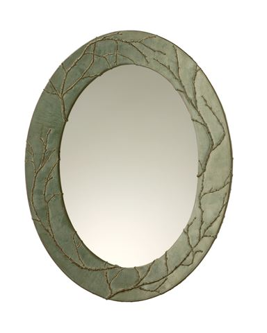 Plum Branch Handcrafted Oval Mirror