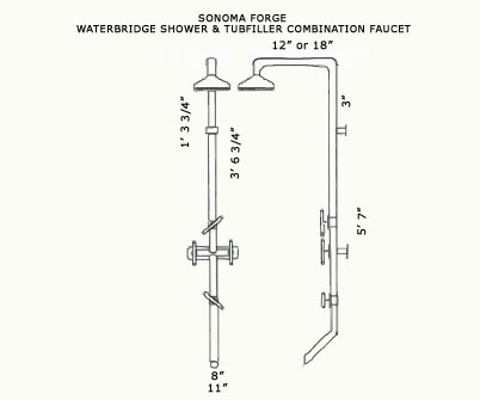 Sonoma Forge | Outdoor Shower | Waterbridge 870 with Tub Filler