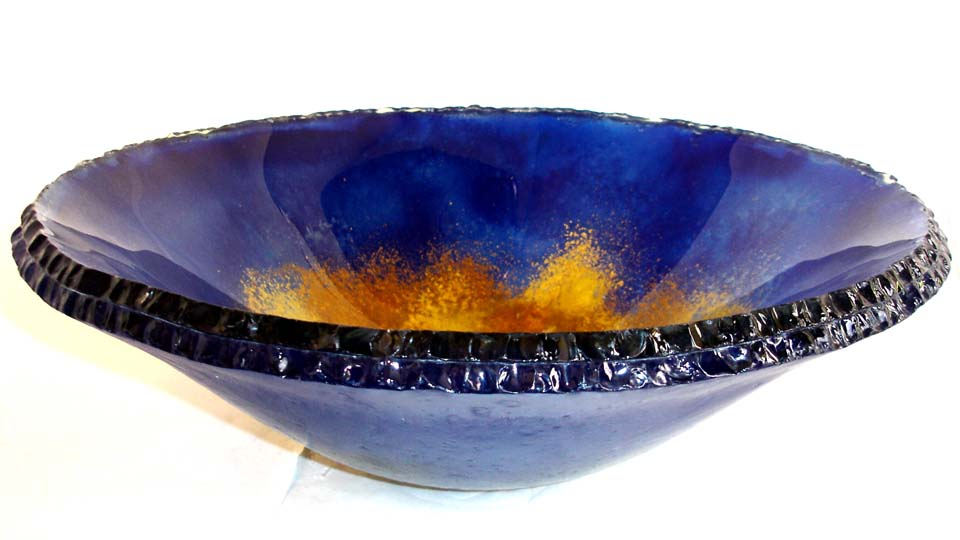 Picture of Oceanus III Round Chiseled Edge Glass Vessel Sink