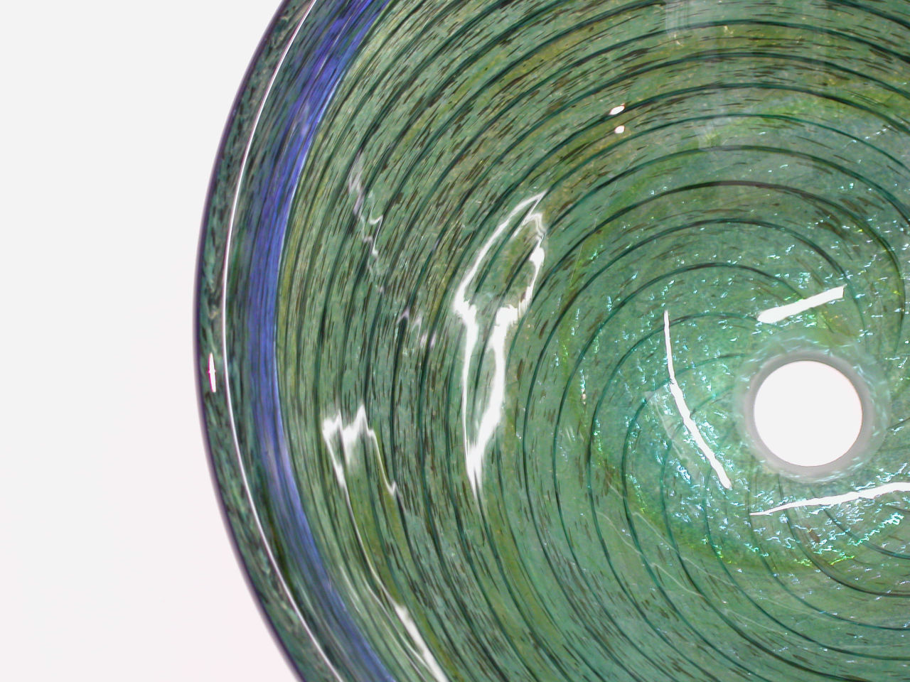 Blown Glass Sink   Blue-Green Optic Twist