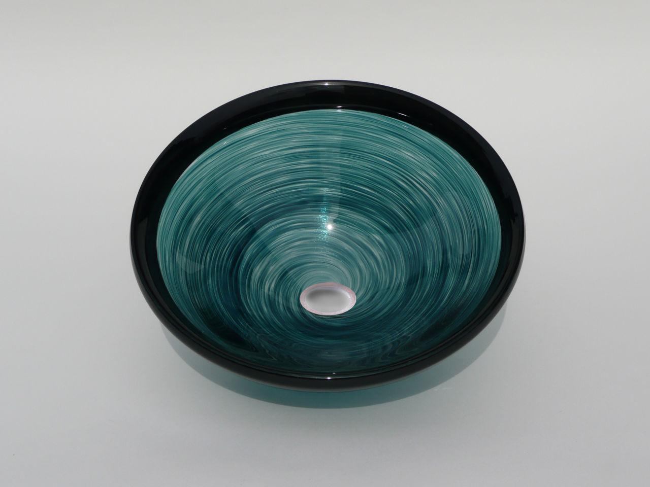 Blown Glass Sink   Jade Swirl